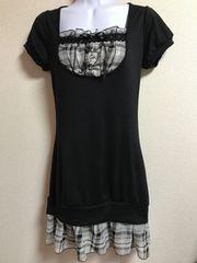★フェイクシャツ付×重ね着風ワンピ  M★