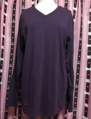 新品タグ無★MEN'S★LL〜3L対応★長袖ロング丈Tシャツ★紫