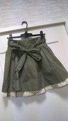 オリーブM-L フリーサイズふんわりカーキミリタリースカート