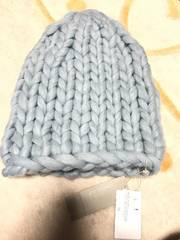 オペークopaqueニット帽淡い水色新品