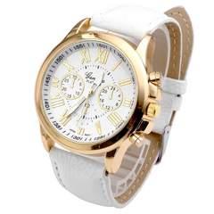 腕時計 ギリシャ文字 ウォッチ クロノグラフ風 革ベルト白