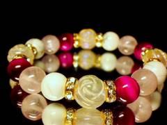 薔薇彫りローズクォーツ12ミリ§ピンクタイガーアイローズクォツ§ホワイトターコイズ10ミリ数珠