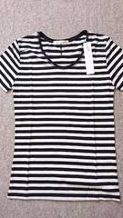 ◇新品AZUL by moussy白黒ボーダーラウンドネックTシャツ◇XS