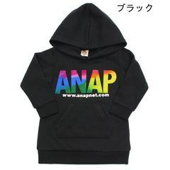 新品ANAPKIDS☆120 グラデーション ロゴ フード チュニック 黒 アナップキッズ