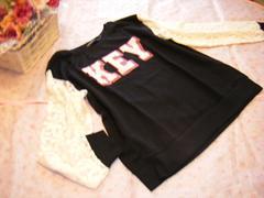 大きいサイズ 3L袖花レースガーリー可愛いロゴトップス☆ブラック