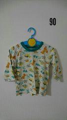 ベージュに恐竜柄の長袖パジャマ