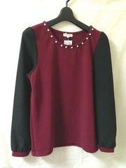 定価¥2380 フェイクパール カラーブロック ブラウス シャツ