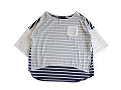as know as アズノウアズ シフォン 異素材MIX ボーダー Tシャツ