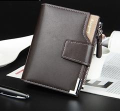高品質レザー 財布二つ折り 札・小銭入れ カード・名刺 茶色