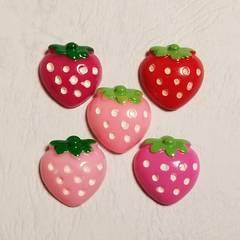 O ☆ 5コ ☆ ぷっくり 苺 ☆ 約2cm ☆ デコパーツ