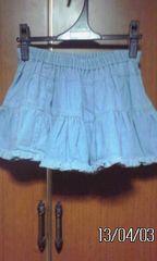 �@ブル−のデニムのスカート(キラキラ入り)