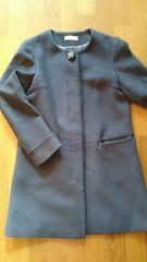 紺色シンプル衿なし飾りボタン付きコート M 美品