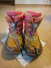 訳あり!女児スノーブーツ♪サイズ22�p♪防寒防水♪ピンク×ブラウン/雪遊び靴