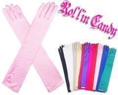 7G0)サテンロンググローブピンクパーティーフォーマル衣装ウェディング結婚式手袋セレブ