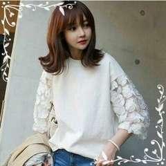 シースルー 花柄刺繍 カットソー Tシャツ Mサイズ
