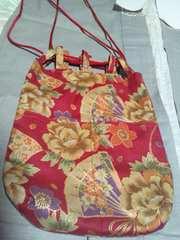 ☆新柄赤×牡丹桜短冊扇子和柄信玄巾着袋リバーシバル