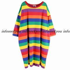 3L4L5L6L大きいサイズ/カラーボーダーロングTシャツ
