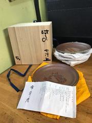備前焼の名人。目澤孝氏の七寸皿。5枚組。完全未使用、共箱