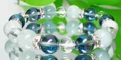 ブルーオーラ§アクアマリン10ミリ§水晶8ミリ§銀ロンデル