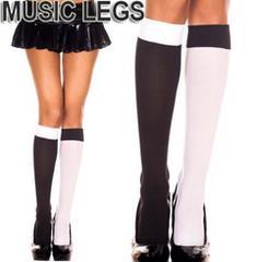 A174)MusicLegs左右色違いモノクロニーハイタイツ白黒ダンス衣装ピエロコスプレソックス