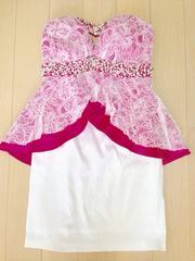 an白レースピンクペプラムベアワンピドレスビジューパール花