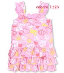 新品BABYDOLL☆ハート&王冠柄 フリル ワンピース水着 130 ピンク  ベビードール