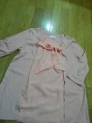 ☆美品☆試着のみ 取り外し可能なリボン付き七分袖カットソー