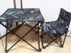 Tohshinアウトドアテーブル&チェアセット(専用収納キャリーバッグ付)迷彩柄