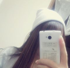 長年愛用♪可愛い白のニット帽子♪(^з^)-☆