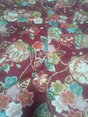 ☆処分品新品赤エンジ麻葉×牡丹金彩花束大鞠和柄ダボシャツM