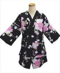 女性レディース用甚平じんべい黒色地八重桜菊桜リボンフリー