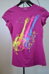 michelle ラインストーンギタープリントTシャツ