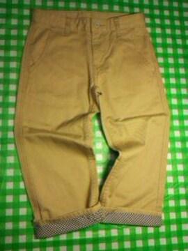 ●裾チェックコットン半端丈パンツ● 130 美品