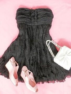 LIMITTLESLUXURY黒ラメプリーツベアキャミワンピドレス