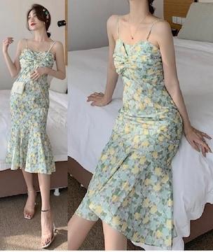 裾フレア*マーメイド型*花柄*前くしゅっとデザイン*キャミソール*ロングワンピース