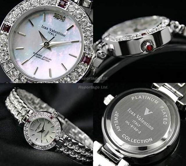 送料無料!【Izax Valentino】天然ダイヤ&ルビー時計 4年電池 < 女性アクセサリー/時計の