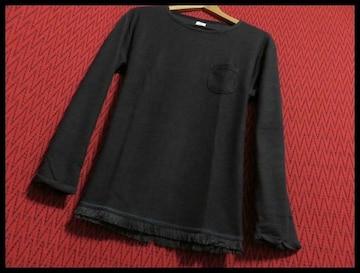SALE裾フリンジツイストスラブニットソー Tシャツ L/BLK/M