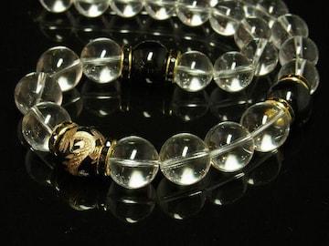 大願成就!!!金彫皇帝龍ブラックオニキス×水晶クリスタル数珠ネックレス
