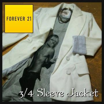 forever21 フォーエバー21 白×ストライプホワイトテラードジャケット 7分袖ジャケット