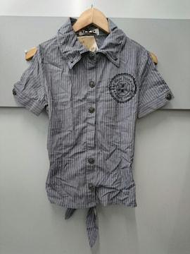 d.i.a☆腰開きストライプ半袖シャツ