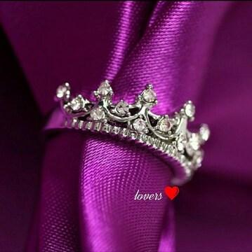 送料無料14号シルバースーパーCZダイヤクラウン王冠リング指輪