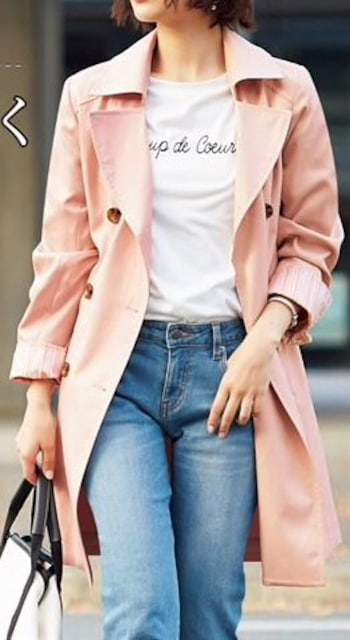 新品☆Sサイズはっ水トレンチコートうす軽ベージュピンク☆n606 < 女性ファッションの