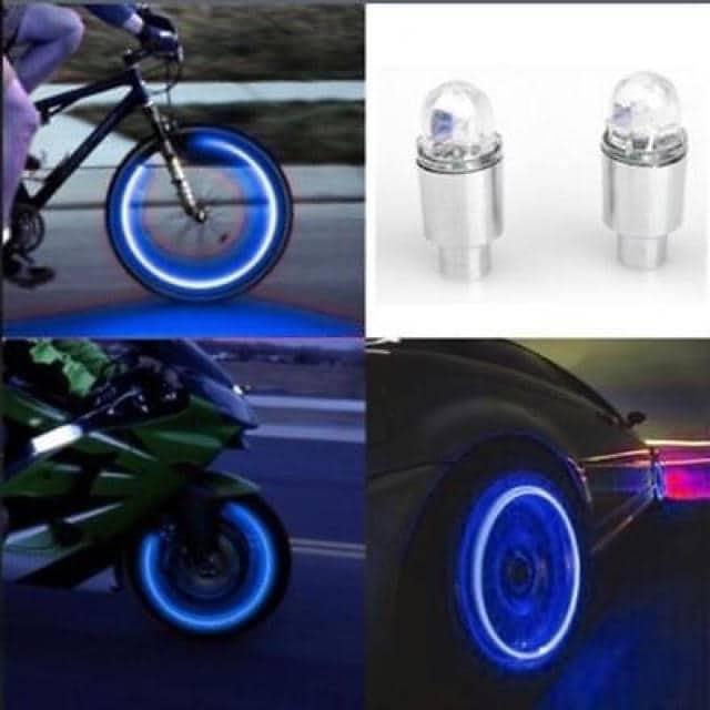 【ブルー】 LED エアバルブキャップ 2個1セット < レジャー/スポーツの