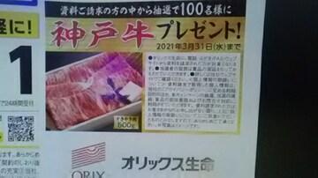 オリックス生命、資料請求で神戸牛プレゼント専用応募はがき3枚