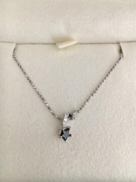 スタージュエリー ブラックダイヤモンドネックレス K18WG 0.15ct