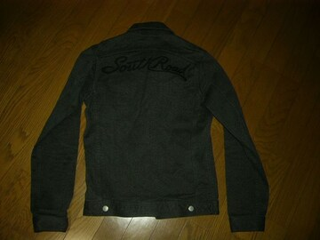 サウスロードSOUTH ROADデニムジャケットS黒系刺繍ステッチ