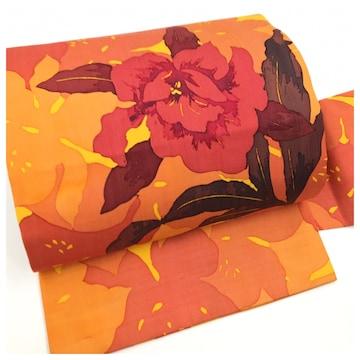 美品 上質 正絹 花模様 黄色 長尺4M 名古屋帯 紬 九寸名古屋帯