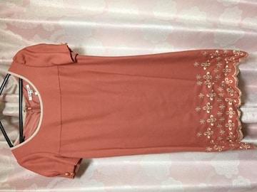 超美品 プライドグライド サーモンピンク 刺繍 ワンピース