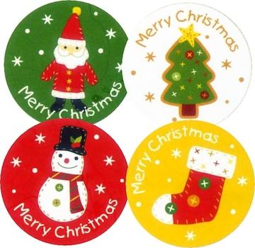キュートクリスマス《アップリケ》★4枚☆4柄アソートキュートギフトシール★送料込み