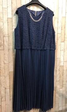 新品☆3L大きいサイズ紺ロングワンピースドレス アクセ付♪s901